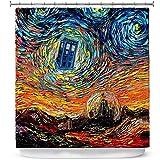 DiaNoche Designs Cuarto de baño ducha cortinas por Aja Ann–Van Gogh nunca sierra Gallifrey