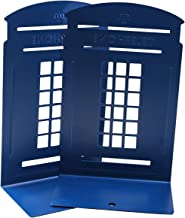 Fasmov Cute Book Nonstick Bookends Telephone Booth Bookends,1 Pair(Blue)