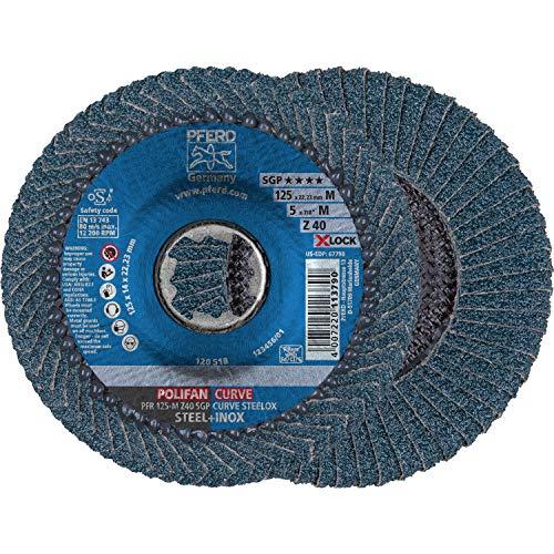 PFERD Fächerscheibe POLIFAN CURVE, 10 Stück, 125mmx11mm, Z40, X-LOCK (22,23 mm), SGP STEELOX, 67689053 – für die präzise Kehlnahtbearbeitung