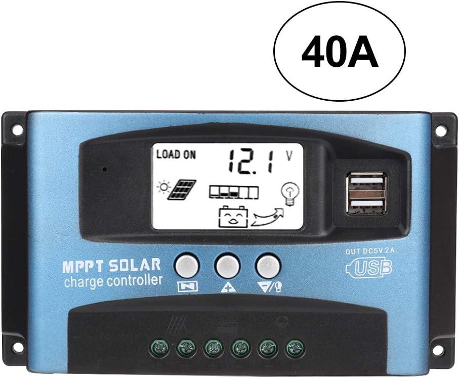 MPPT Cargador de batería solar 40/50/60/100 A Controlador de carga solar con pantalla LCD USB 12V 24V ABS Manual del usuario(40A)