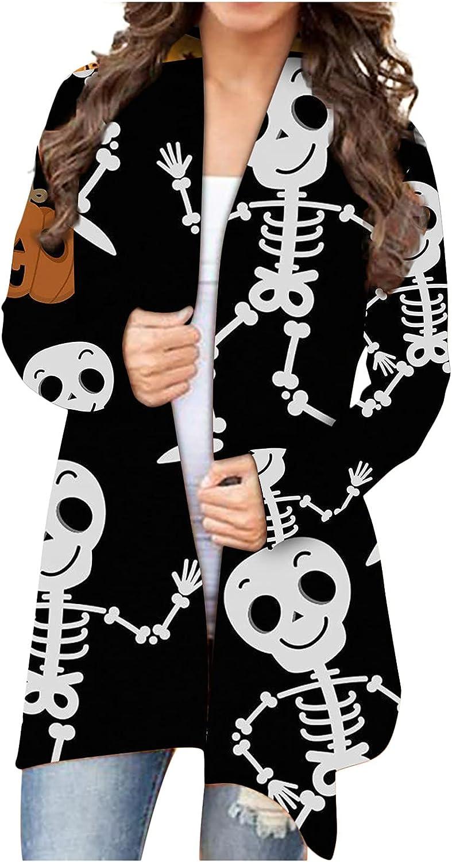 Halloween Cardigan for Women Pumpkin Bat Skeleton Print Light Cardigan Sweaters Plus Size Open Front Long Sleeve Shirts