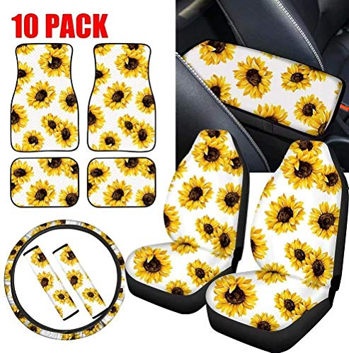 FOR U DESIGNS White Sunflower Printed Universal Car Seat Covers Interior Accessories Set Vehicle Floor Mats, Car Seatbelt Cover, Wheel Protector, Car Center Console Cover Set of 10 Pcs for Women Indiana