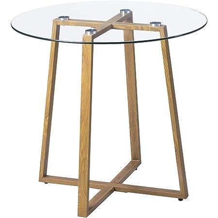 H.J WeDoo Ronde Table en Verre Table de Salle à Manger Scandinave Moderne Style rétro Table Basse avec Pattes en métal HxD: 75 x 80 cm en Verre trempé, Transparent