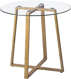 H.J WeDoo Ronde Table en Verre Table de Salle à Manger Scandinave Moderne Style rétro Table Basse avec Pattes en métal HxD...