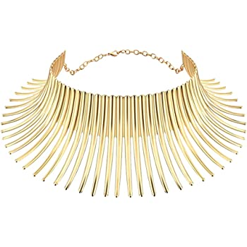 Mrotrida Women's Big African Necklace Indian Style Bending Alloy Big Thorn Statement Collar Choker