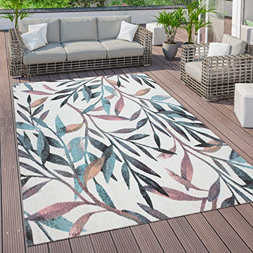 Paco Home Outdoor Teppich Terrasse Balkon Vintage Küchenteppich Blatt Muster Beige Grün, Grösse:80x150 cm