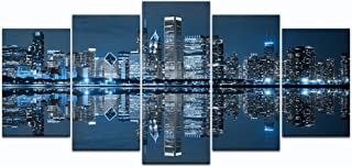 LevvArts - Chicago Downtown at Night Picture Canvas Print - Modern City Wall Art - 5 Panels Framed Artwork for Office Living Room Wall Decoration