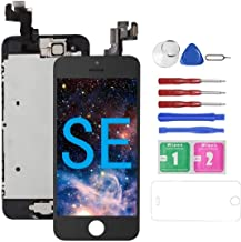 for iPhone SE Screen Replacement Black for A1662,A1723,A1724, Mobkitfp Compatible with iPhone 5SE Screen Replacement Digitizer LCD Touch Screen Display, Full Assembly with Repair Tools