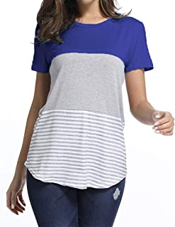 kigod Women's Casual Short Sleeve Round Neck Top Triple Color Block Stripe T-Shirt Tunics Blouse