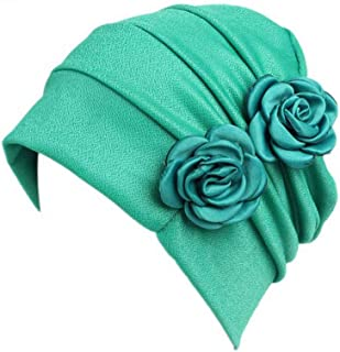 Fashian Lady Flower Muslim Turban Pleated Head Wrap Scarf Bandana Hat Pre Tied Headwear Cancer Chemo Cap WJ-44 (Color : 7, Size : One Size)