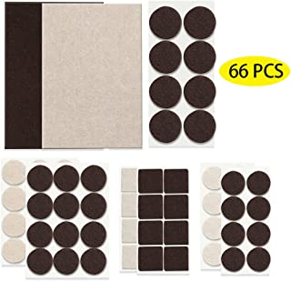 Fu Store Furniture Felt Pads Self Adhesive Felt Pad Premium Furniture Pads Protection Furniture Noise Reduction Non-Slip Brown Beige Various Sizes 5mm Thick 66PCS for Bed Chairs Sofa Cabinet Legs