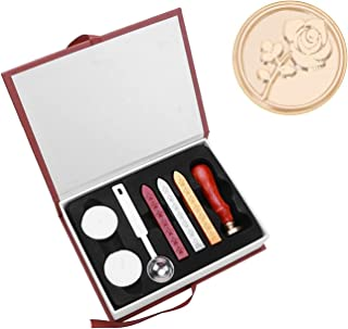 Gift Box Classic Seal Retro Wedding Wax Stamp Wooden Customs Romantic Rose Letter Envelope DIY Crafts Sealing Tool with Gi...