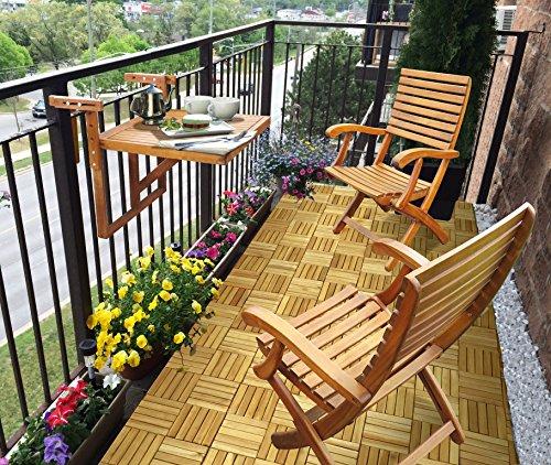 Interbuild Balkontisch & Casinostühle aus echtem Holz (1 Tisch + 2 Stühle), Kleiner Balkon, platzsparendes Tischset, zusammenklappbar, goldfarbenes Teak-Finish