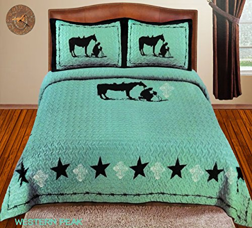 Western Peak Praying Cowboy Bling Rhinestone Cross Horse Barb Wire Star Cabin Lodge Luxury Quilt Bedspread Coverlet Comforter 3 Piece Beige Brown Set [Limited Premium Edition] (Queen, Turquoise)