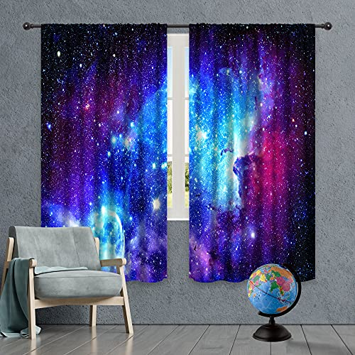 Riyidecor Galaxy Outer Space Nebula Curtains (2 Panels 42 x 63 Inch) Blue Rod Pocket Universe Planets Fantasy Starry Black Art Printed Living Room Bedroom Window Drapes Treatment Fabric WW-CLLE