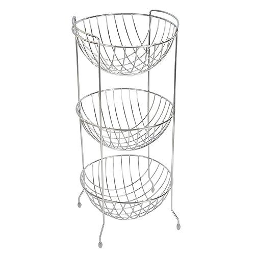 Embassy Fruit & Vegetable Trolley, Round, 3-Tier, 27x64 cms, Stainless Steel (Multipurpose Kitchen Storage Rack/Shelf)