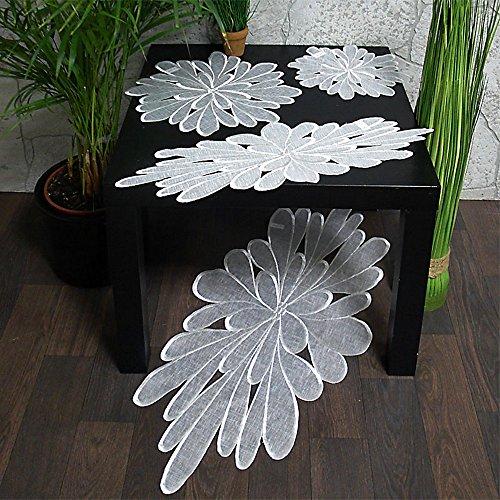 Hossner Heimtex Tischdecke Tischläufer Deckchen Weiss Motiv Blüte rund leicht Organza (35 cm rund)
