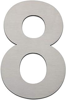 Número de casa moderno (152 mm de altura). Hecho con acero inoxidable 304 cepillado y sólido. De aspecto flotante y fácil de instalar (número 0, cero), Number 8