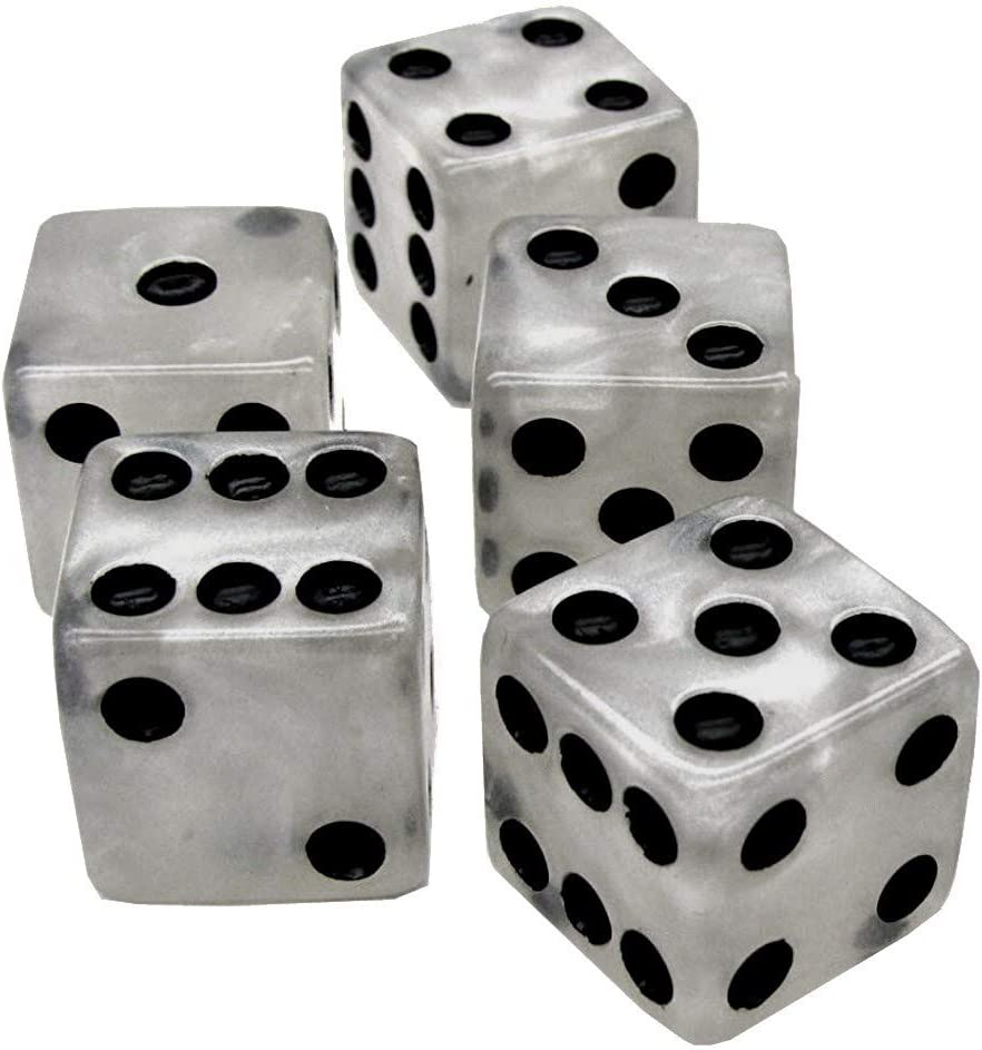 Cyber-Deals Set of 16mm Marbleized Dice and Black PU Leather Velvet Lined Dice Cup with Storage Compartment Gift Boxed