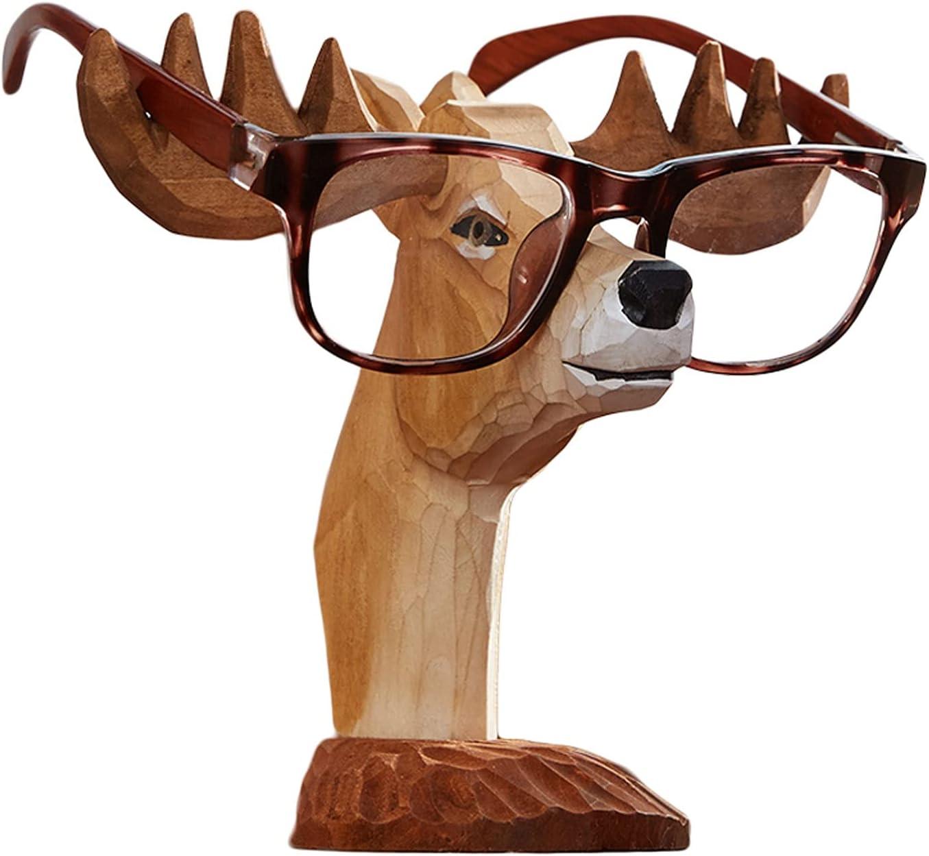 Cheap bargain Sunglasses Rack Holder Creative Ultra-Cheap Deals Handmade Eyegla Deer Carved Wood