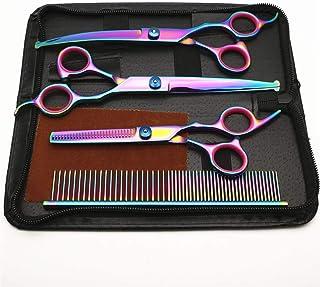 Professional Barber (Bending Shears/Straight Shears/Dental Scissors/Comb/Leather Bag/Send Wipes) Five-Piece Color Scissors...