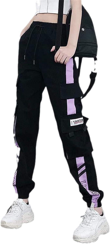 KHUGIU Women Elastic Waist Loose Streetwear Cargo Pants Female Ankle-Length Jogging Trousers Ladies Casual Pants