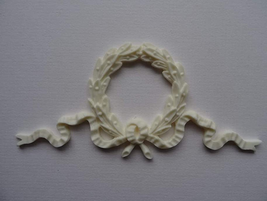 Decorative wreath swag ribbon applique onlay furniture moulding WSR1