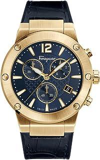 Salvatore Ferragamo Men's F-80 Stainless Steel Swiss-Quartz Watch with Leather Calfskin Strap, Blue, 22 (Model: FIJ060017)