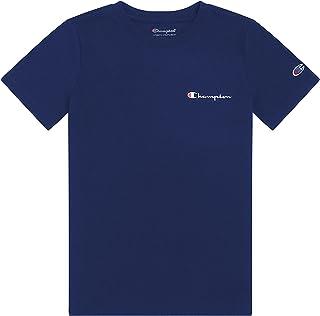 Champion Boys Short Sleeve Tee Shirt Chest Script Big and Little Boys Top (Navy, Medium, m)