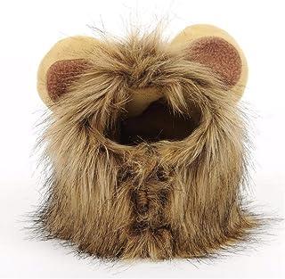 JTMM Peluca de Melena para Gato y Perro pequeño, Disfraz de león, Vestido de Halloween con Orejas Fiesta de Mascotas Fiesta de Disfraces Ropa para Gatos(M)