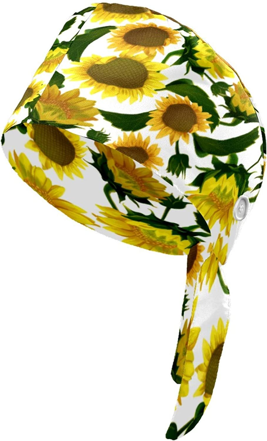 Working Cap with Button for Women Men Adjustable Sunflowers Caps One Size Tie Back Hats