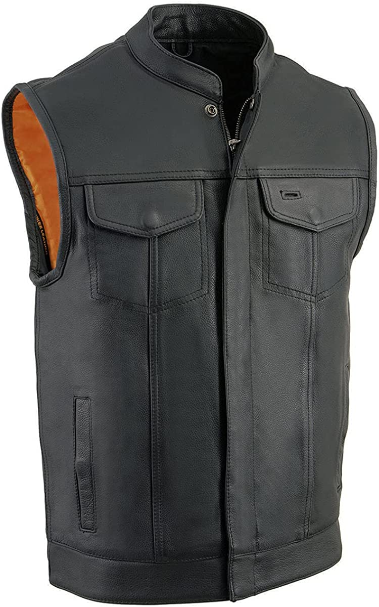 Milwaukee Leather MLM3514 Men's 'Club Vest' Black Leather Vest with Cool-Tec Technology