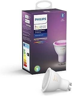 Philips Hue Spot 1-Pack - GU10 - Duurzame LED Verlichting - Wit en Gekleurd Licht - Dimbaar - Verbind met Bluetooth of Hue...