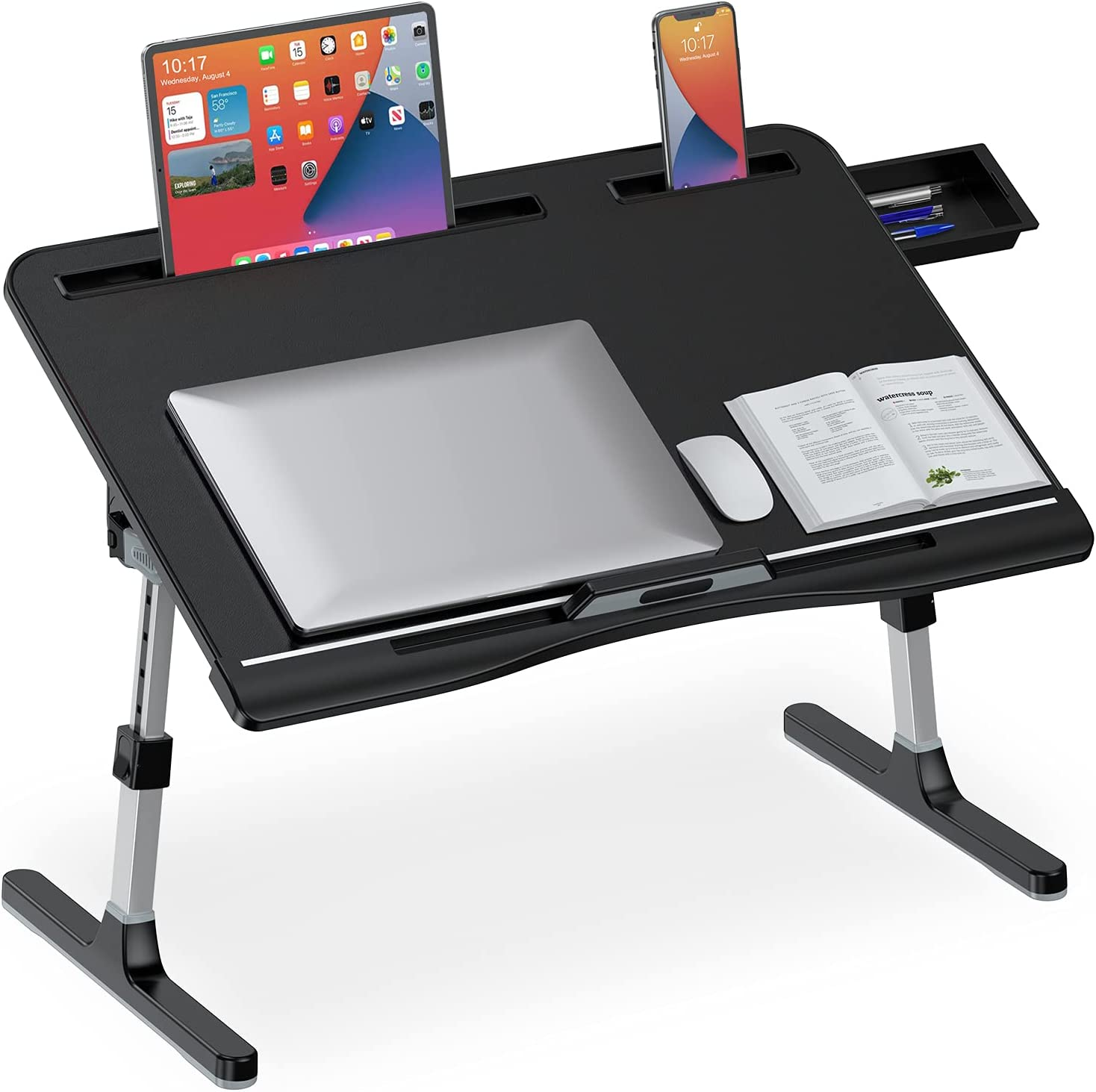 Laptop Desk for Bed Adjustable Max 63% OFF Foldable Legs with Stor Indianapolis Mall