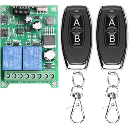 Wireless Remote Control 2 Button Switch DC12V 10A 433MHz Transmitter w// Receiver