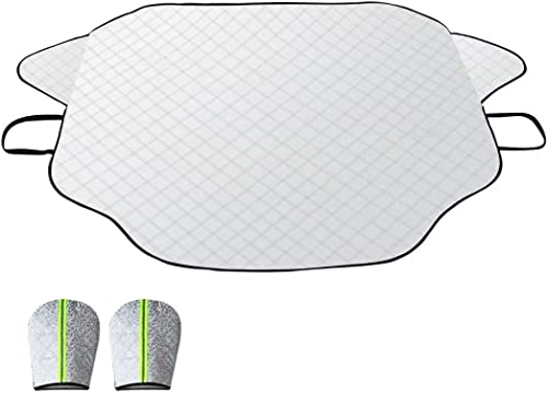 Windshield Snow Cover, Car Windshield Snow Cover Ice Cover with 4 Layers Protection, Straps & Magnets Double Fixed De...