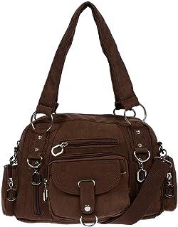 Christian Wippermann Damenhandtasche Schultertasche Tasche Umhängetasche Canvas Shopper Crossover Bag Braun