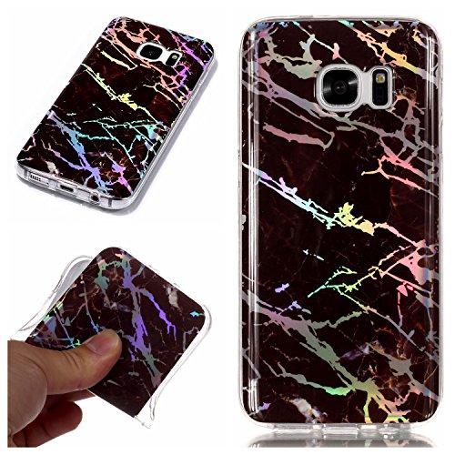 Artfeel Coque pour Samsung Galaxy S7 Edge,Marbre Motif Housse Souple Flexible Silicone TPU Pare-Chocs Arrière Étui,Ultra Mince Léger Anti-Rayures Antichoc Coque,Marron