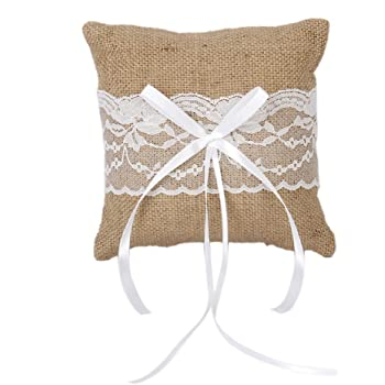 Adeeing Ring Bearer Pillow Burlap Lace Vintage Wedding Ring Bearer Jewelry Pillow Cushion,6 x 6 Inch