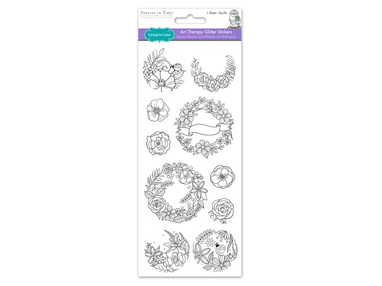 Living In Color  Paper Craft Stickers Art Therapy with Glitter, 4in x 9in, color your own stickers, Laurel Wreath