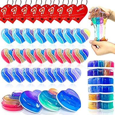 AMENON 28 Pack Valentines Day DIY Slime Kit with Kids Valentine Gift Cards Putty Colorful Rainbow Heart Slime Stress Relief Toys for Kids Gifts Valentine Classroom Exchange School Prizes Party Favors