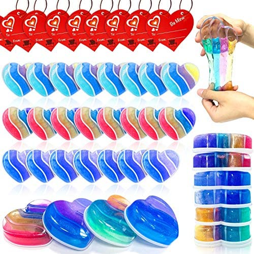AMENON 28 Pack Valentines Day DIY Slime Kit with Kids Valentine Gift Cards Putty Colorful Rainbow product image