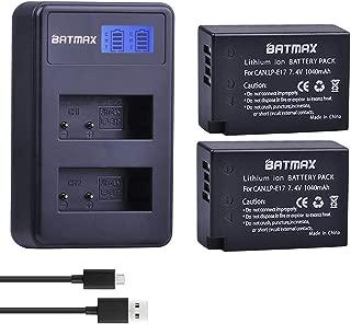 Batmax 2Pcs LP-E17 LPE17 LP E17 Battery + LCD USB Dual Charger for Canon LP-E17, EOS RP, Rebel T6i, T6s, T7i, SL2, EOS 750D, 760D, 77D, 800D, 8000D, 200D, EOS M3, M5, M6 Digital SLR Camera