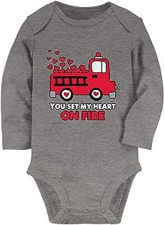 Tstars You Set My Heart On Fire - Fire Truck Valentine's Day Baby Long Sleeve Bodysuit