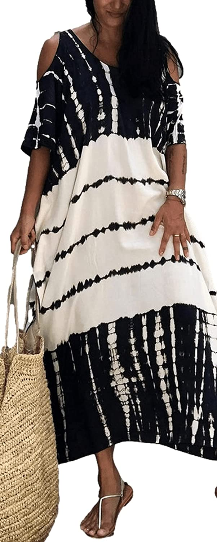 RanRui Women's Plus Size Caftans Stripe Print tie dye Vneck Kaftan