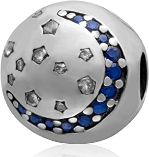 Ollia 925 Sterling Silver European Beads Twinkling Night Sky Charm Moon and Stars Bead with Zircon Stones Clip Stopper Charm