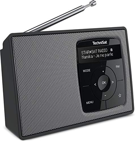 TechniSat DIGITRADIO 2 - Tragbares DAB+/UKW-Radio mit Akku (mit Bluetooth Audiostreaming, Weckfunktion, OLED Display, Kopfhöreranschluss, Lautsprecher 1 W RMS) schwarz/silber