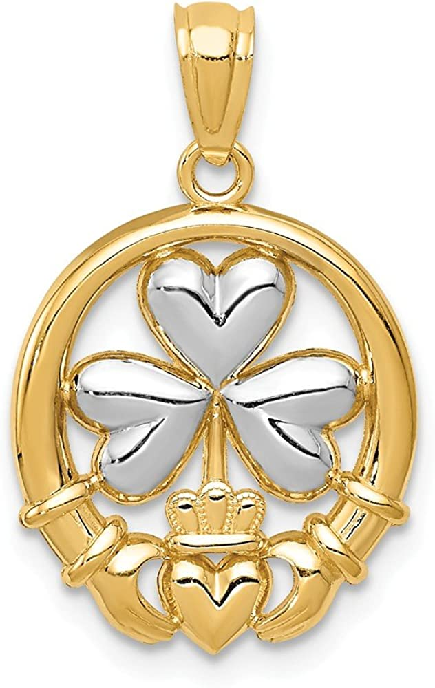 Solid 14k White and Yellow Gold Popular brand Two Celtic Claddagh Toned Irish Ranking integrated 1st place