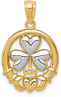 14k Yellow Gold Irish Claddagh Celtic Knot Shamrock Pendant Charm Necklace Fine Jewelry Gifts For Women For Her