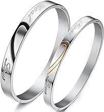 Men Women Stainless Steel Vintage Engrave Real Love Heart Joint Silver Bangle Couple Promise Bracelet